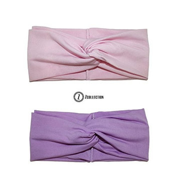 ZCollection 2pc Women Elastic Headband Fashion - Yoga - Sports - Travel. Super Comfortable. Chic Design & Quality - 15 colors ( Pack of 2 pcs ) Purple / Pink