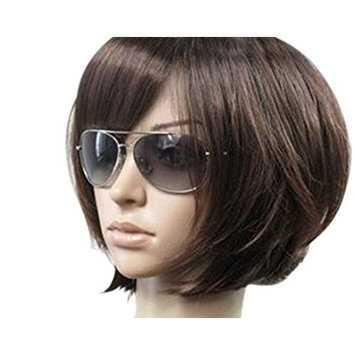 Kalyss Women's Short Bob Wig With Hair Bangs Imported Heat Resistant Mix Dark Brown Yaki Syntheic Hair Wig [Mix Dark Brown]