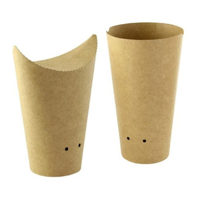Packnwood 210TPASK20K 14 oz Closable Perforated Kraft Snack Cup 2.36 x 6.3 in.