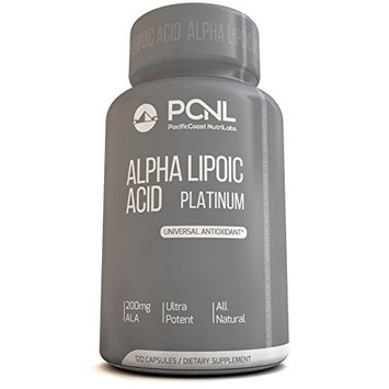 PacificCoast NutriLabs 200mg Alpha Lipoic Acid ALA, All-Natural Universal Antioxidant Supplement, Best Vitamin For Nerve Related Ailments, Numbness & Blood Vessels, Free Ebook, 120 Capsules