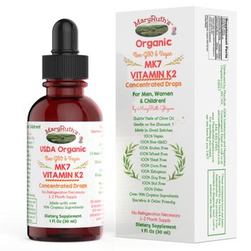 Maryruth Organics USDA ORGANIC VITAMIN K2 (MK7) Liquid Drops (Concentrated) by MaryRuth Vegan Non-GMO Paleo GF 1oz