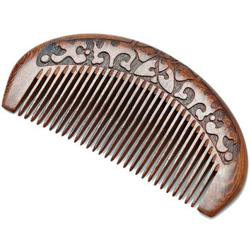Wood Comb,Wooden hair comb,100% Natural Sucupira Comb-Anti Static (Flower-Fine Tooth)