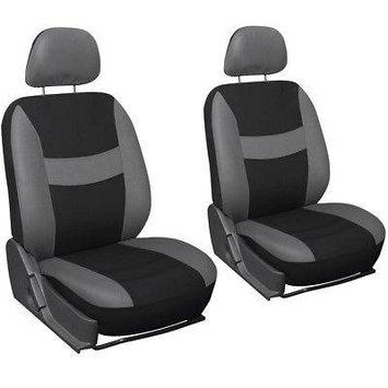 Istiloshoppe Car Accessories 13pc Front Bucket SUV Seat Covers Set Gray Black Wheel Belt Head Floor Mats 3E