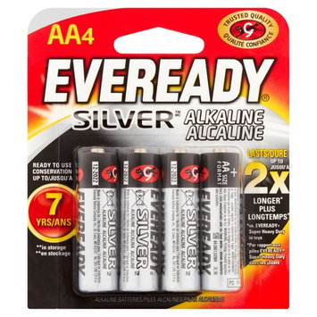 Eveready Silver Alkaline AA Batteries, 4 Count
