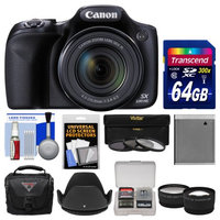 Canon PowerShot SX530 HS Wi-Fi Digital Camera with 64GB Card + Case + Battery + Tripod + 3 Filters + Tele/Wide Lens Kit