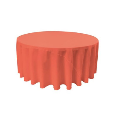 LA Linen TCpop132R-CoralP55 Polyester Poplin Tablecloth Coral - 132 in. Round