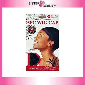 (PACK OF 6) Donna Premium Collection Wig Cap #22030 BLACK (5PCS) : Beauty
