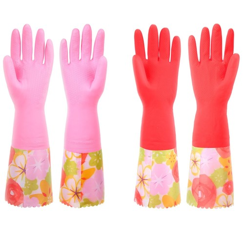 Household Dishwashing Cleaning Latex Gloves with Cotton Lining Kitchen Gloves,Dishwash Gloves Large (2 Pairs)