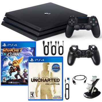 Sony PlayStation 4 Pro Console Nathan Drake, Ratchet and Clank Games and Accessories