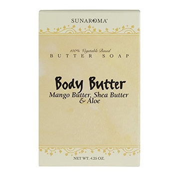Sunaroma Body Butter Soap with Shea, Mango and Aloe (4.25 oz) - 100% Premium Vegetable-Based Glycerin Soap Hydrates Skin, Boosts Collagen Production and Soothes Acne - Made in the USA, Sulfate Free