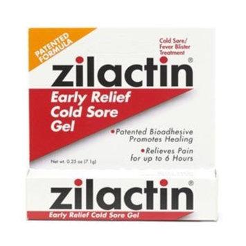 Zilactin Cold Sore Gel, Medicated Gel 0.25 oz ( Pack of 4)