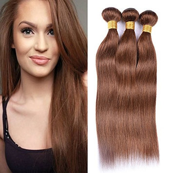 XCCOCO Hair 4# Hair Weave Medium Brown Hair Bundles Deal Brazilian Pure Color Silk Remy Straight Hair Bundles 8a 300g/set(4#,Light Brown,20''x3)