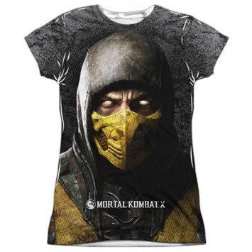 Mortal Kombat X Finish Him (Front Back Print) Juniors Sublimation Shirt White MD