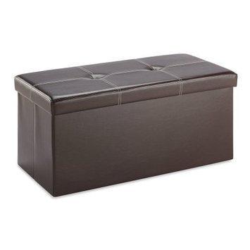 Whitmor Collapsible Storage Bench-Brown Vinyl