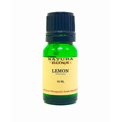 Lemon Essential Oil - 100% Pure Organic Therapeutic Grade Organic Citrus Limonum Oil in a 10ml UV Protected Green Glass Euro Dropper Bottle.