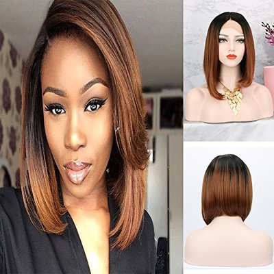 Nantansha Silk Lace Front Wig Heat Resistant Fiber Hair Natural Looking Ombre 2 Tones 12 Inch Brown Short Bob Synthetic Ombre Dark Roots Wigs For Women Half Hand Tied wig