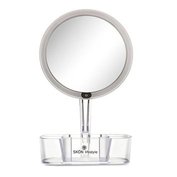 SKÖN lifestyle - Large 8 Inch, 5X Magnifying Makeup Mirror, Dimmable Extra Bright LED Rechargeable Light - Organizer Tray - 93 CRI, 415 LUX - Simple to Use
