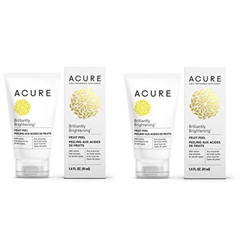 Acure Brilliantly Brightening Fruit Peel (Pack of 2) with Papaya Enzyme, Bitter Cherry, and Blue Agave, 1.4 fl. oz.