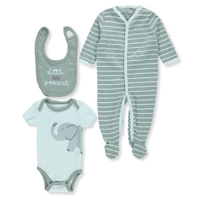 born Baby Boy Sleep 'N Play, Bodysuit & Bib, 3pc Set