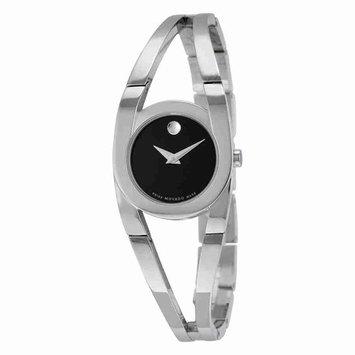 Movado Amorosa Black Dial Stainless Steel Ladies Watch 0606394