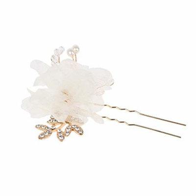 SM SunniMix Wedding Hair Pins Bridal Bridesmaids Flower Design Rhinestones Hair Accessories - White