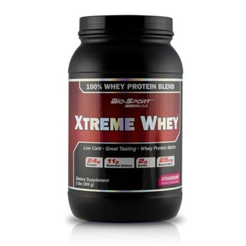 Bio-Sport USA Xtreme Whey, Great Tasting Low Carb 100% Whey Protein Matrix, Strawberry, 2 Pound [Strawberry]