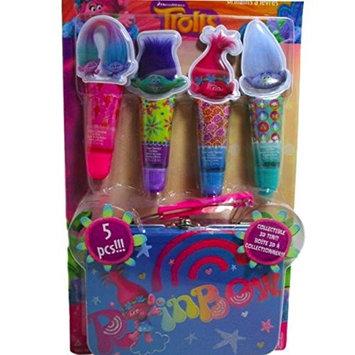 Trolls Movie Girls 5 Piece Lip Gloss Set - Collectible 3D Tin