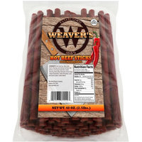 """Weaver's Hot Beef Sticks (80 hot and spicy 6.5"""" beef sticks per 40oz bag)"""