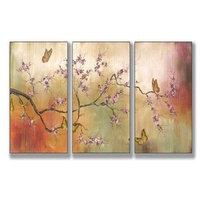 Pink Blossoms and Butterflies Triptych Wall Art