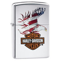 Zippo Harley-Davidson Flag Eagle, High Polish Chrome 28082