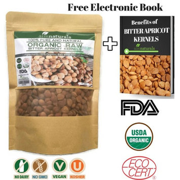 Bitter Apricot Kernels LARGE (1 LB) 16 Ounces 454 G 100% Organic Raw Value Pack+ FREE eBook Benefits of Bitter Apricot Seeds -100% Organic Apricot Seeds-High in vitimin B17 & B15