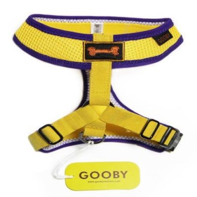 Gooby 04009-YEL-XL Freedom Sport Harness Yellow and Purple Extra Large Soft Synthetic Lambskin Strap