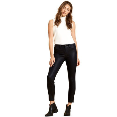 Coated Black Jeans For Women   Leather Look, Cotton Comfort   Amazing Denim Fabric Will Stretch But Regain Shape