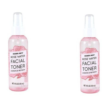 [ VALUE PACK OF 2] TRADER JOE'S ROSE WATER FACIAL TONER HYDRATE & REFRESH 4 OUNCE EA : Beauty