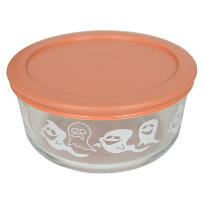 Pyrex 7201 4-Cup White Ghost Glass Bowl & 7201-PC Light Orange Replacement Lid