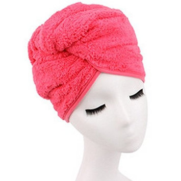 G2PLUS Microfiber Hair Towel for Women, Fast Drying Hair Towel Wrap with Button (Peachblow)