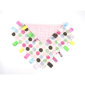 3 Colors Infant Taggie Blanket With Satin Ribbons (Pink Polka dots)
