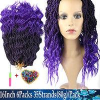 6packs/lot 16Inch 35strands/pack Wavy Senegalese Twist Crochet Braiding Hair Crochet Braids Hair Extension Low Temperature Fiber (6packs, T1b/Purple#)