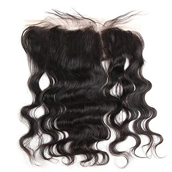 ISEE Hair 14 Inch Brazilian Body Wave Virgin Human Hair Free Part 134 Full Lace Frontal Closure, Bleach Knots with Unprocessed 100% 8A Baby Hair, Full Bottom, Ear to Ear, Natural Color