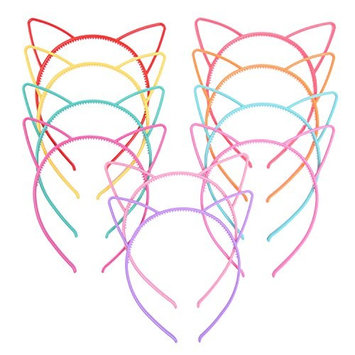 eBoot Cat Ear Headbands Plastic Cat Hairband Cat Bow Hairbands Makeup Party Headwear for Women Girls, Multicolor, 10 Pieces