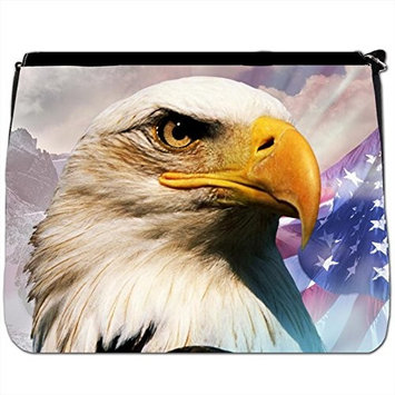 Eagle Face Black Large Messenger School Bag [Eagle Face]
