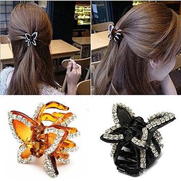 2 PCS Women Lady Girls Elegant Butterfly Hairpin Fancy Rhinestones Claw Clip Jaw Clips