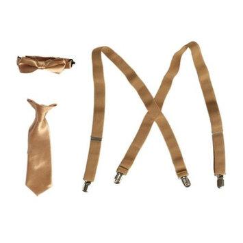 Boys Khaki Suspender Bow-Tie Tie Combo Special Occasion Set