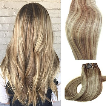 Myfashionhair Clip in Hair Extensions Real Human Hair Extensions 15 inches 70g Clip on for Fine Hair Full Head 7 pieces Silky Straight Weft Remy Hair