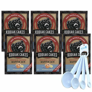 Kodiak Cakes Blueberry Lemon Muffin Mix, Protein Packed Whole Grains Non-GMO - 14 Ounce (6 Pack) bundle with Lumintrail Measuring Spoon Set