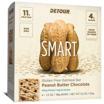 Forward Foods, Llc Detour SMART Peanut Butter Chocolate Whole Grain Oatmeal Protein Nutrition Snack Bar Multi-Pack, 1.3 oz, 4 count