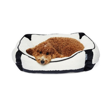 Enchante Accessories Inc. Precious Tails Orthopedic Ultra Plush Sherpa Rectangular Pet Bed Cuddler Ivory/Black