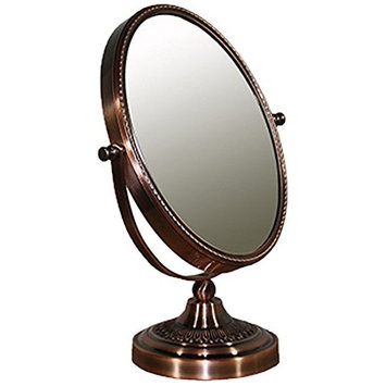 Ore International Copper Chrome Oval X5 Magnify Mirror, 12.25 Inch [X5 Magnify]
