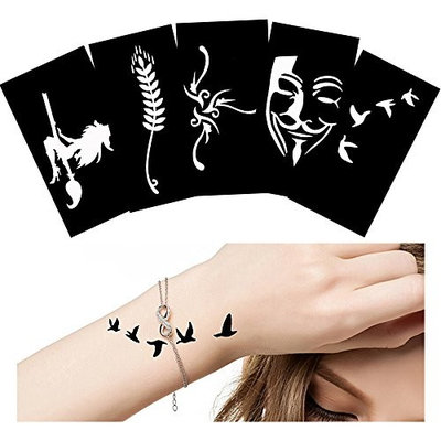 5 Sheets Small Tattoo Stencil Airbrush Painting for Waist Body Paint Art Glitter Template