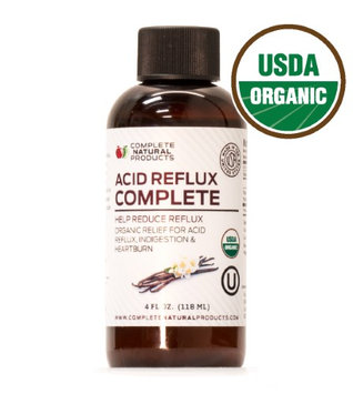 Complete Natural Products Acid Reflux Complete 4oz - Organic Liquid Heartburn Remedy, Gerd, & Reflux Relief Medicine